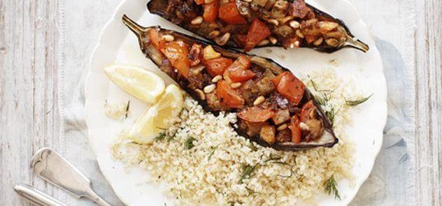 A bowl of spiced stuffed aubergines with bulgur wheat and dill