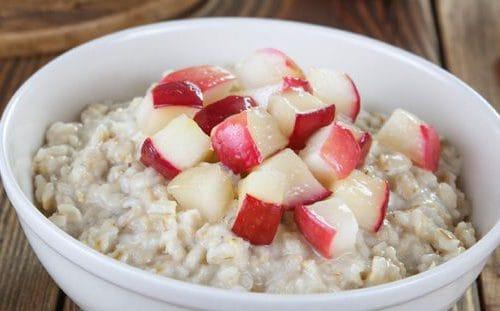 Bowl of porridge with apple