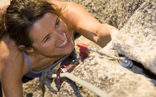 A women rock climbing