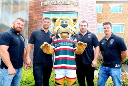 Holland and Barrett HQ in Nuneaton get a VIP visit from Leicester Rugger first Teamers