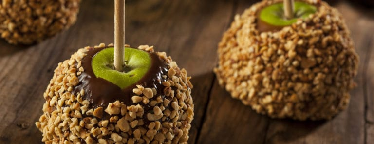 Sugar free Salted Caramel Apples coated in nuts