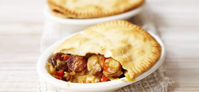 Meat- free chicken, chorizo and cider pot pies