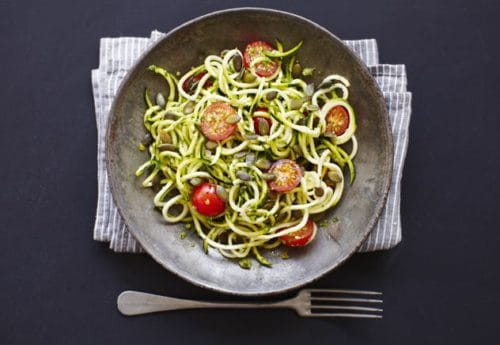A bowl of courgette spaghetti with nut free spinach pesto