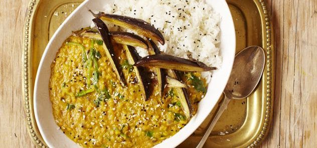 A plate of aubergine daal with coconut