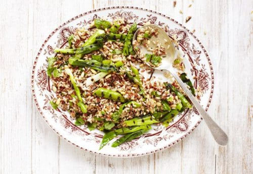 A bowl of asparagus and wild rice salad