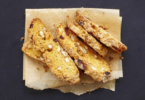 Almond and apricot biscotti on parchment paper