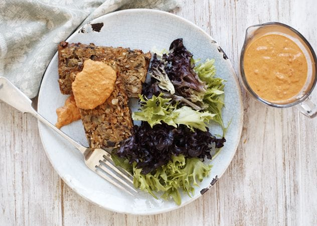 Vegetable loaf with cheat's romesco sauce