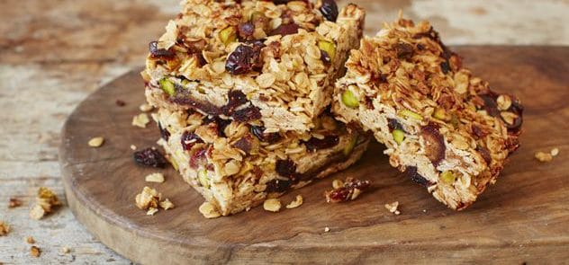 Slices of cranberry and pistachio flapjacks