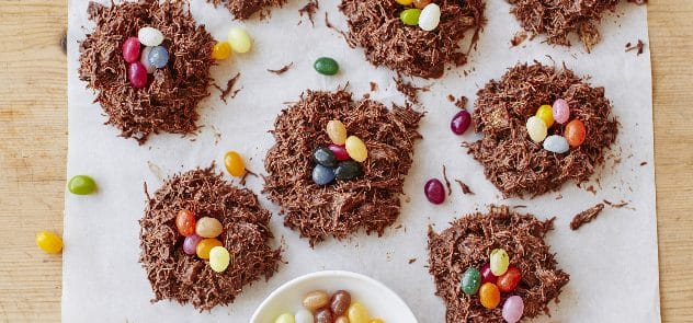 Chocolate nests with jelly beans