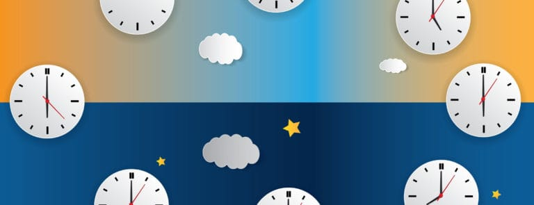 Various clocks showing different times of the day and a day night cycle