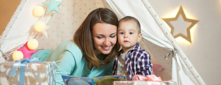 Woman reads to son