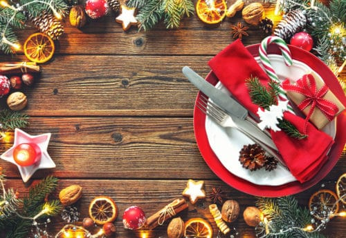 Christmas wreath on wooden table