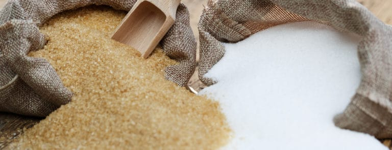 types of sugar, brown sugar and white