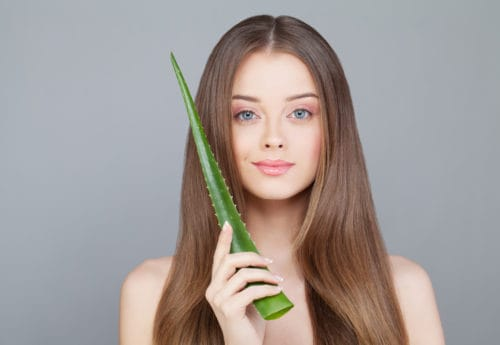 Woman with Clear Skin and Long Healthy Hair Holding Green Aloe Leaf