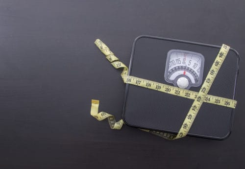Tape measure wrapped around scales