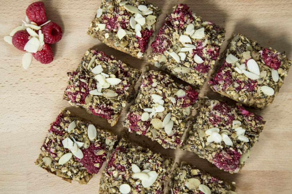 Raspberry, almond & oat bars