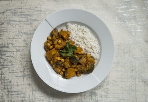 Chickpea, aubergine & squash curry