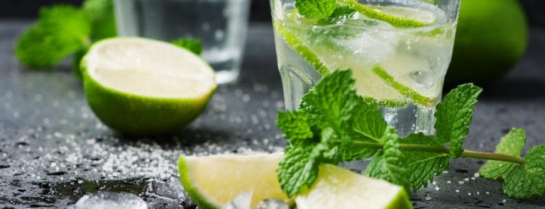 Glasses of non alcoholic drinks infused with mint and lime