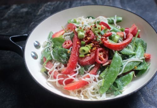 Raw vegetable pad thai noodle salad