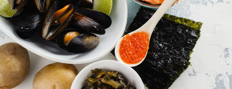 Food rich of iodine. Natural sources - mussels, baked, pototo, shrimps, red caviar, seaweed.