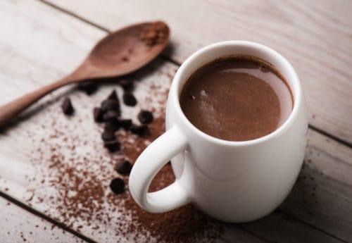 Hot chocolate in white mug