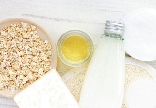 Oatmeals, honey, oil, soap, facial cleanser.