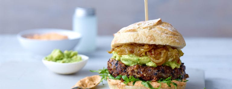 Vegan Comfort Food: Black Bean Burger with Guacamole and Chipotle Mayo
