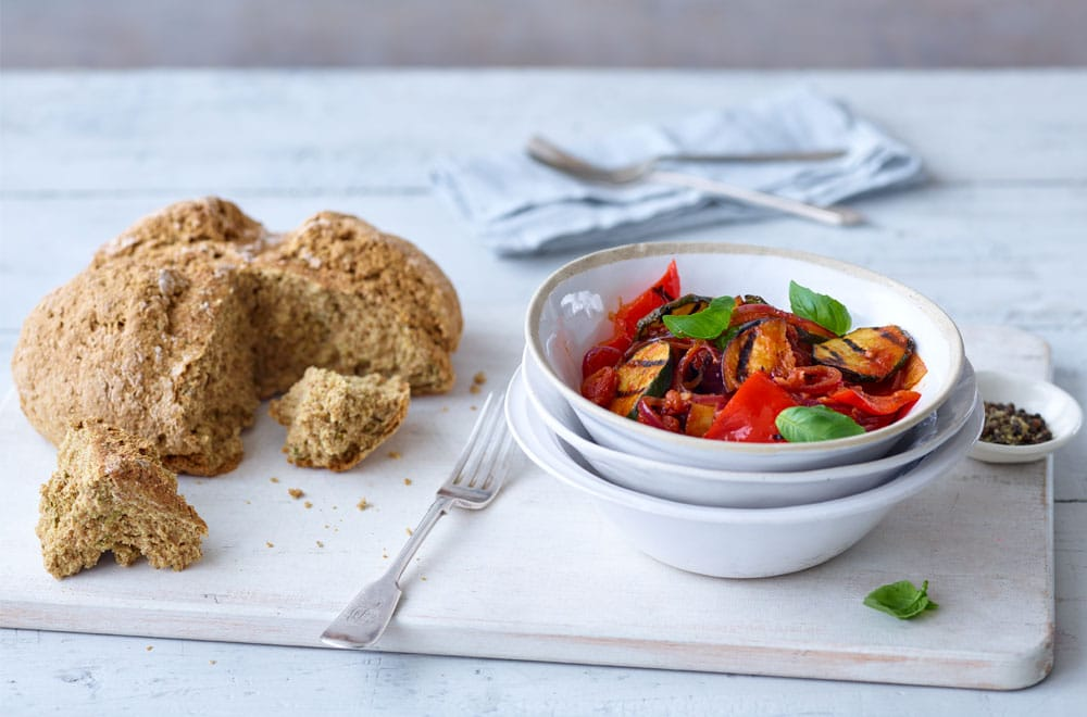 Vegan Comfort Food: Chargrilled Ratatouille with Rosemary Soda Bread