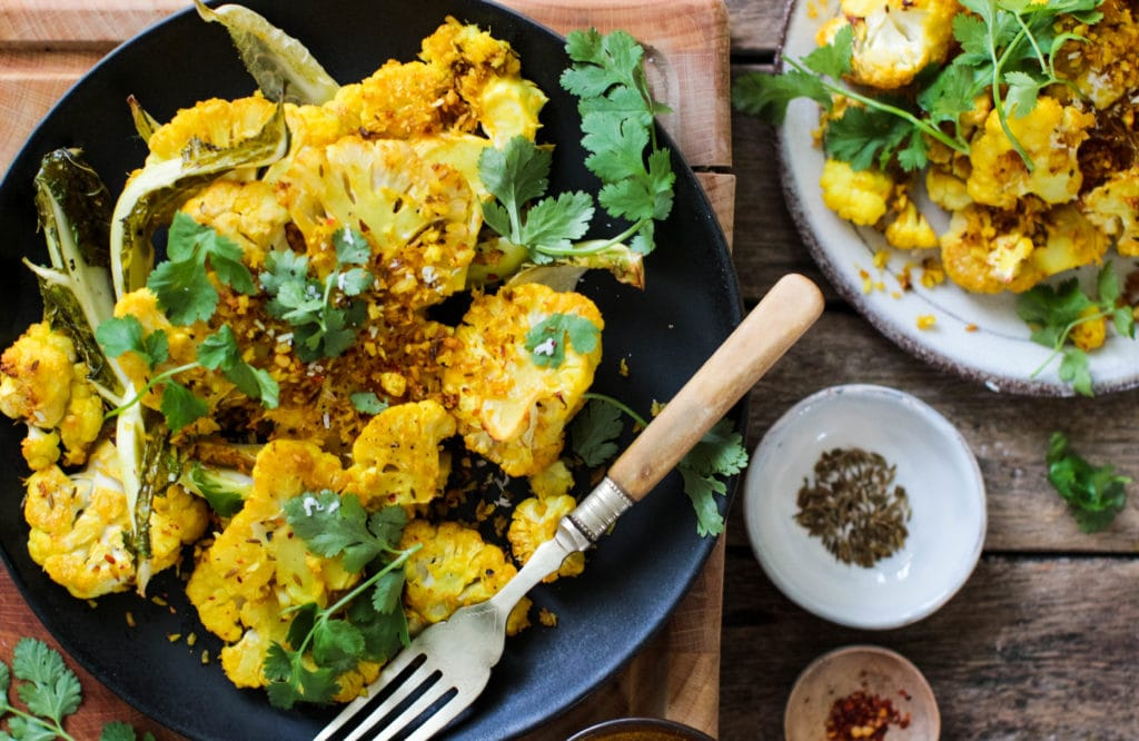 Rebel Recipes turmeric and coconut crusted baked cauliflower