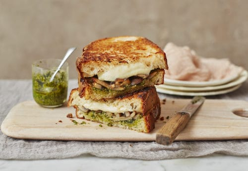 Lazy Weekend Recipes: Mozzarella, Mushroom and Pesto Sourdough Toasties