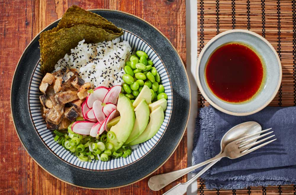 Miso Honey Aubergine Poke Bowl