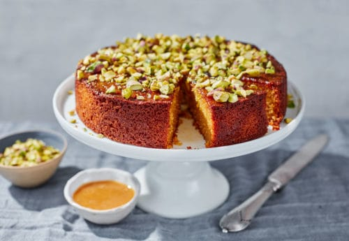 Manuka Honey and Orange Polenta Cake with Pistachios