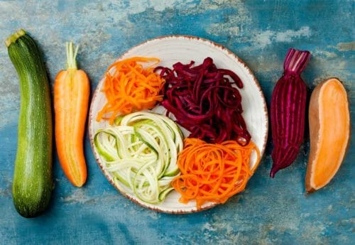 A selection of raw vegetables on a plate