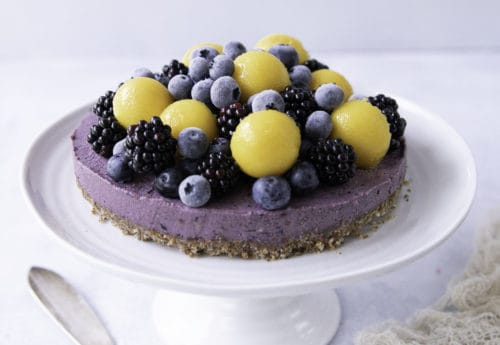 Mango, Poppy Seed and Blueberry Vegan Cheesecake