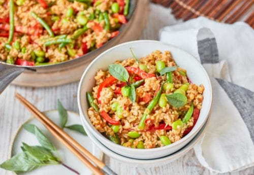 One Pot Dishes: Red Thai Curry Stir Fry with Freekeh