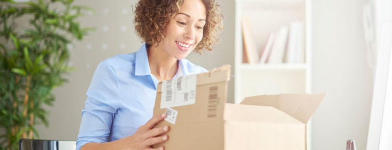 Woman opening a delivery