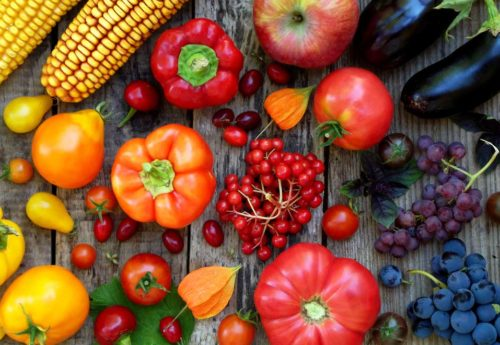 A selection of colourful fruit and vegetables