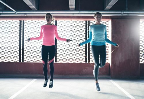 two women skipping in a fitness studio