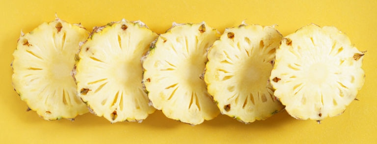 Sliced pineapples, a source of the digestive enzyme bromelain
