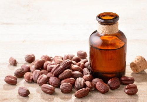 Bottle of jojoba oil