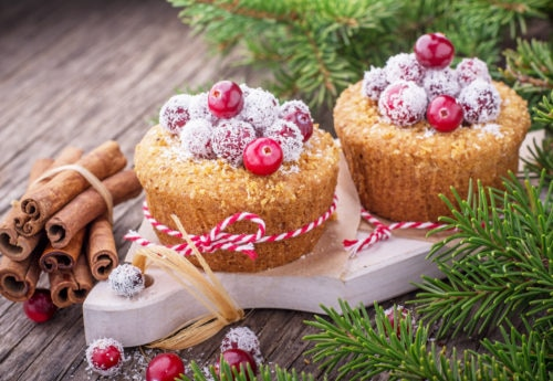 Christmas muffin with cranberries on top