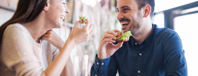 Man happy eating fibre filled meal