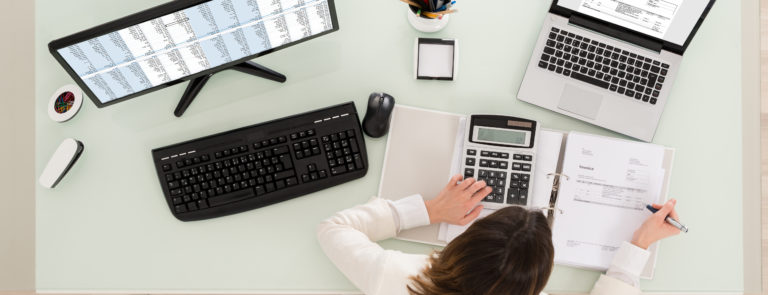 a woman working from home