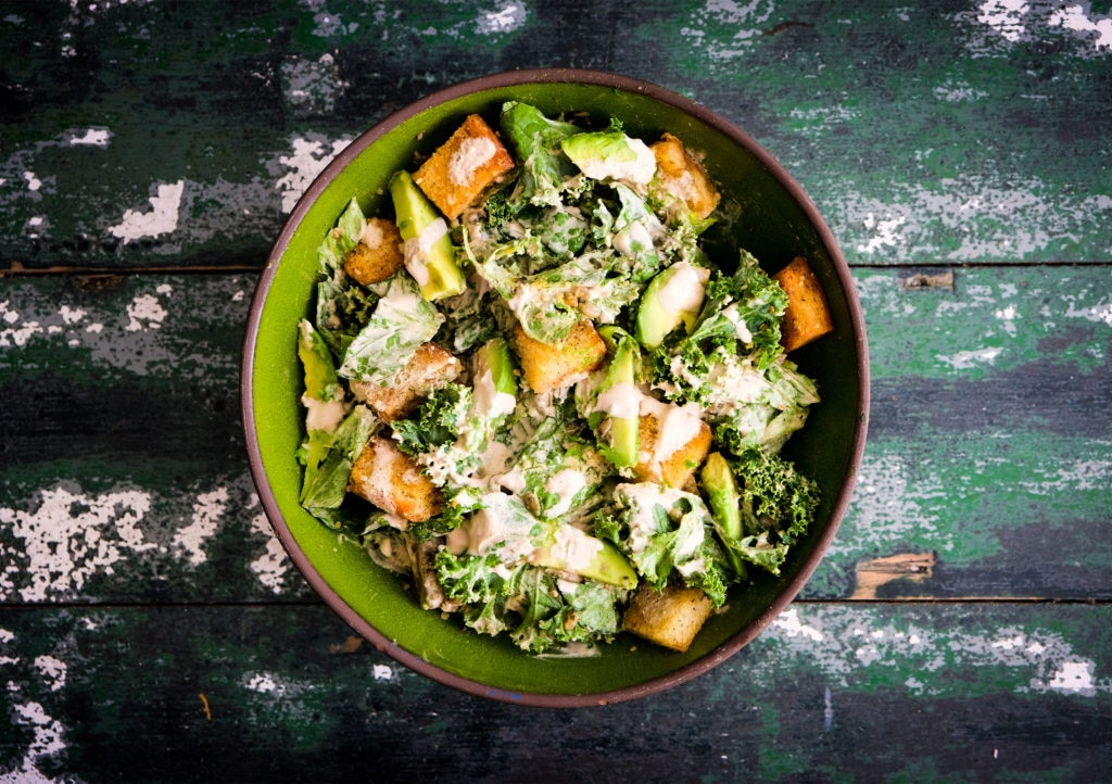 Vegan Caesar Salad with Kale & Avocado