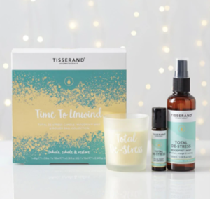 Tisserand relaxation, candle and skincare gift set.