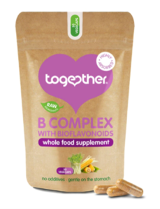 A brown and purple bag of Together Health WholeVits B Complex 30 Capsules.