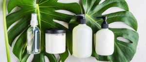 A selection of spray bottles, pump bottles and tubs on tp of palm leaves.