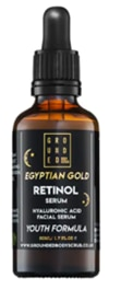 A 50ml bottle of 1 Grounded Egyptian Gold Retinol Facial Serum.